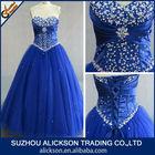 Ball Gown Sweetheart Beaded Floor Length Tulle Plus Size Bling Bling Royal Blue Prom Dresses