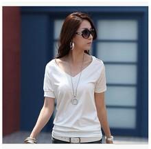 China Wholesale Women's Short Sleeve Plain White V Neck T-Shirt