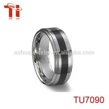 Fashion mens wedding band ,wholesale mens wedding band, Polished Tungsten Wedding Ring Black Resin Inlay