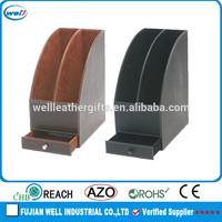 Customized PU leather desk organizer document tray
