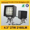 """Hot sales 4.3"""" 2160LM square 27w 12v led working lights"""
