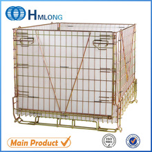 Warehouse folding rolling mesh metal cage for PET Preform storage