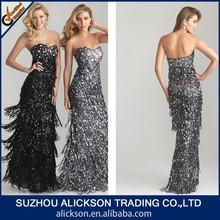Innovative Sweetheart Strapless Floor Length Tiered Sequin Evening Dress