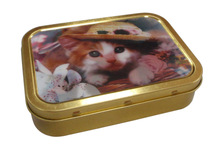 smaill rectangular tin box with 3D effect label sticker or laser color printing outside
