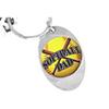 Lead & Nickel Free!! Softball Dad Key Chain Silver Tone Oval That Displays A Softball & Bats Keyring