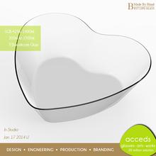 New Custom Printed Odd-Shaped Dessert / Heart Shaped Glass Bowl