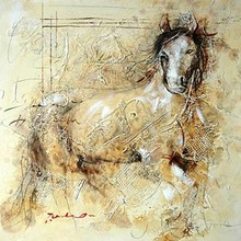 Abstract Horse Oil Painting On Canvas For Home Decor
