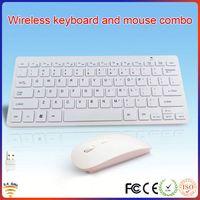 Mini size multimedia white laptop wireless keyboard and mouse combo
