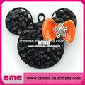 venda quente de cristal preto minnie mouse com laranja estilo arco strass encantos pingente de colar