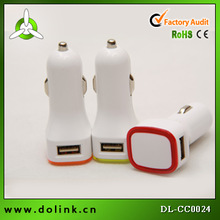 5V 2.1A portable double USB car charger side hole aperture