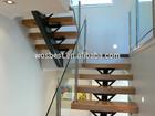 Indoor steel wood single stringer stair