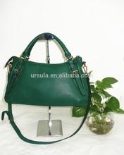 2015 Latest ladies handbag green pu leather bag handles and detachable shoulder strap hot selling tote bag