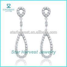 Delicate rhodium plated tear earrings