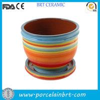Rainbow colored ceramic garden Flower Pot