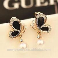 Korean fashion style BLACK butterfly flower crystal pearl stud earrings ear ornaments D301
