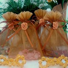 Flower decor custom printed organza gift bag