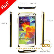 Gold highlight Edge 0.7mm Ultra Thin aluminum metal bumper phone case for samsung S5