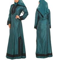 wholesale abaya latest design green muslim long sleeve arabic kaftan
