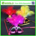 Luz Led de cuatro colores veneciano pluma del carnaval de la máscara