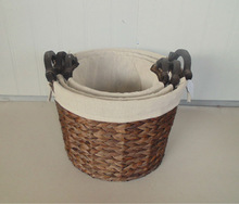 2014 Hotselling Rush Basket with wooden Handles s/3