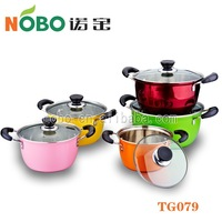 New color and flower Stainless steel cookware set