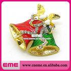 Alloy Enamel Red & Green Bell Design For Holiday Christmas Rhinestone Pendant