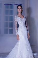 Drop Shipping Sexy Nice Applique Mermaid Style Long Sleeve Tulle Wedding Dresses China