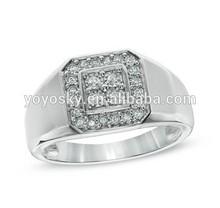 Pure handicraft factory 925 Sterling Silver Men's engagement ring 2014 CZ MEN wedding ring
