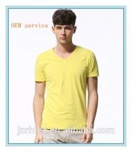 2014Hot sale 100%Cotton deep v neck t shirts for men