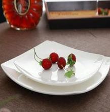 """12"""" modern shape white porcelain dishes"""