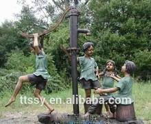 Copper children playing bronze sculpture