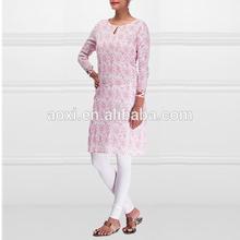 Pink flower printed cotton ladi kurta pattern wholesal pakistani long kurtis
