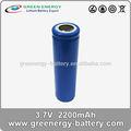 Recargable de ion de litio de la batería 18650 3.7 v 2200 mah celular cilíndrica