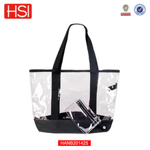 2015 Hot Sales Clear PVC Plastic Women Beach Tote See-thru Bag with transparent plastic coin bag Sac a main