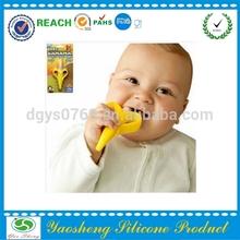 FDA food grade banana style silicone baby toothbrush