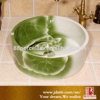 Bathroom ceramic antique green lotus flower pattern above counter art hand wash basin