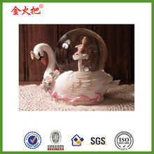High quality cute swan with girl ballet dance wedding snow globe