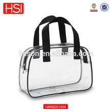 2015 Hot Sales Clear Transparent PVC Plastic Tote Bags Ladies Handbag with zipper