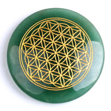 Natural Green Adventurine stone engraved Flower of Life gemstone