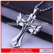Wholesale Sale 2014 Fashion Alloy Angel Wings Cross Pendant/charm
