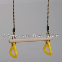 wooden trapeze bar swing with triangle rings for kids
