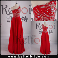 2014 Wholesale Sheath One Shoulder Floor Length Chiffon Evening Dress
