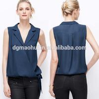 Dongguan city clothing manufacturer ladies fancy sleeveless tops