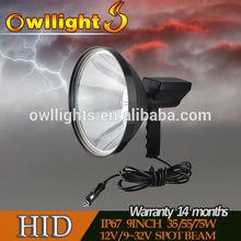 New Product 100w HID Hunting Spot Light/Portable Searching Light 240mm HID Spot Light 12v cigarette lighter powered light