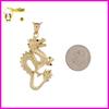 Luxury 14k Gold Diamond Cut Dragon Charm Pendant necklace