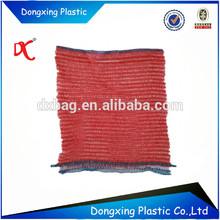 PP knitted plastic raschel mesh bag with die cut handle