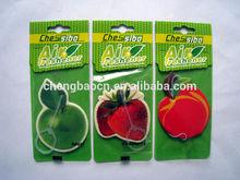 high quality custom hanging paper air freshener/cartoon fruit/apple/lemon design paper car air freshener in China