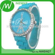 fashion design custom logo crystal silicone lady watch