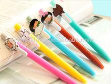 2014 new 5 design lovely doll plastic ballpoint pen