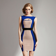 2015 japanese woman sexy nude and blue bodycon bandage dress